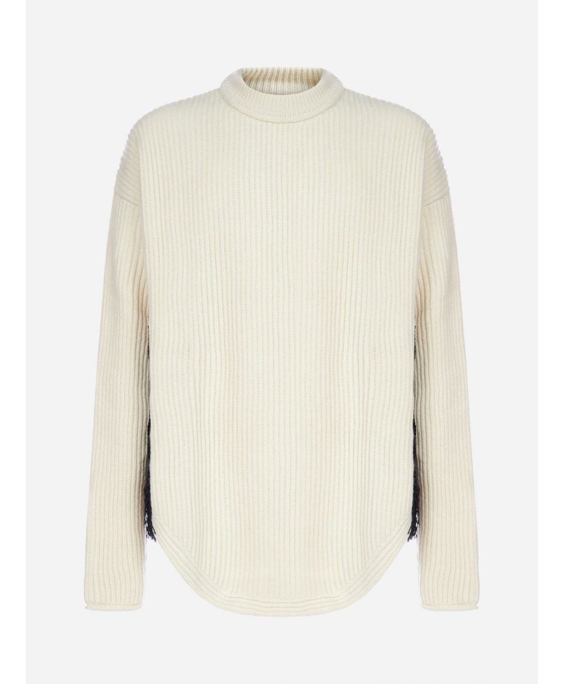 Ethnic-style side inserts wool-blend sweater