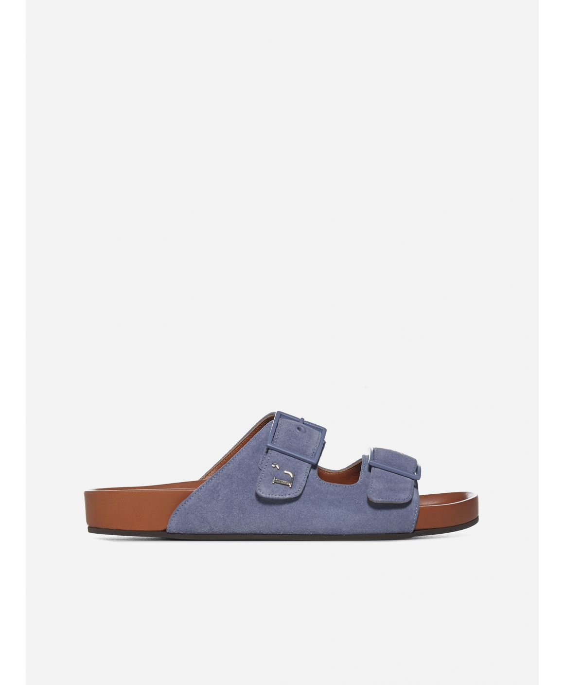 Birki suede and leather flat sandals