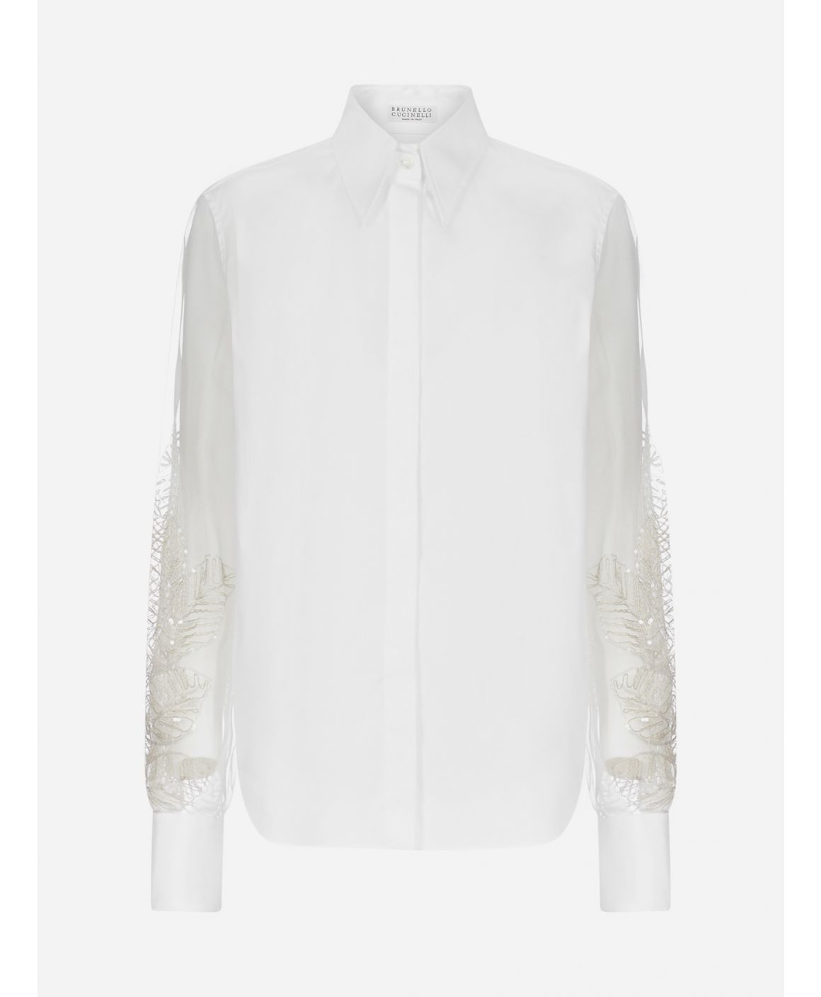 Embroidered tulle sleeves cotton shirt