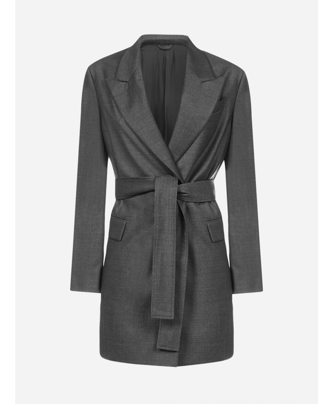 Belted virgin wool blazer