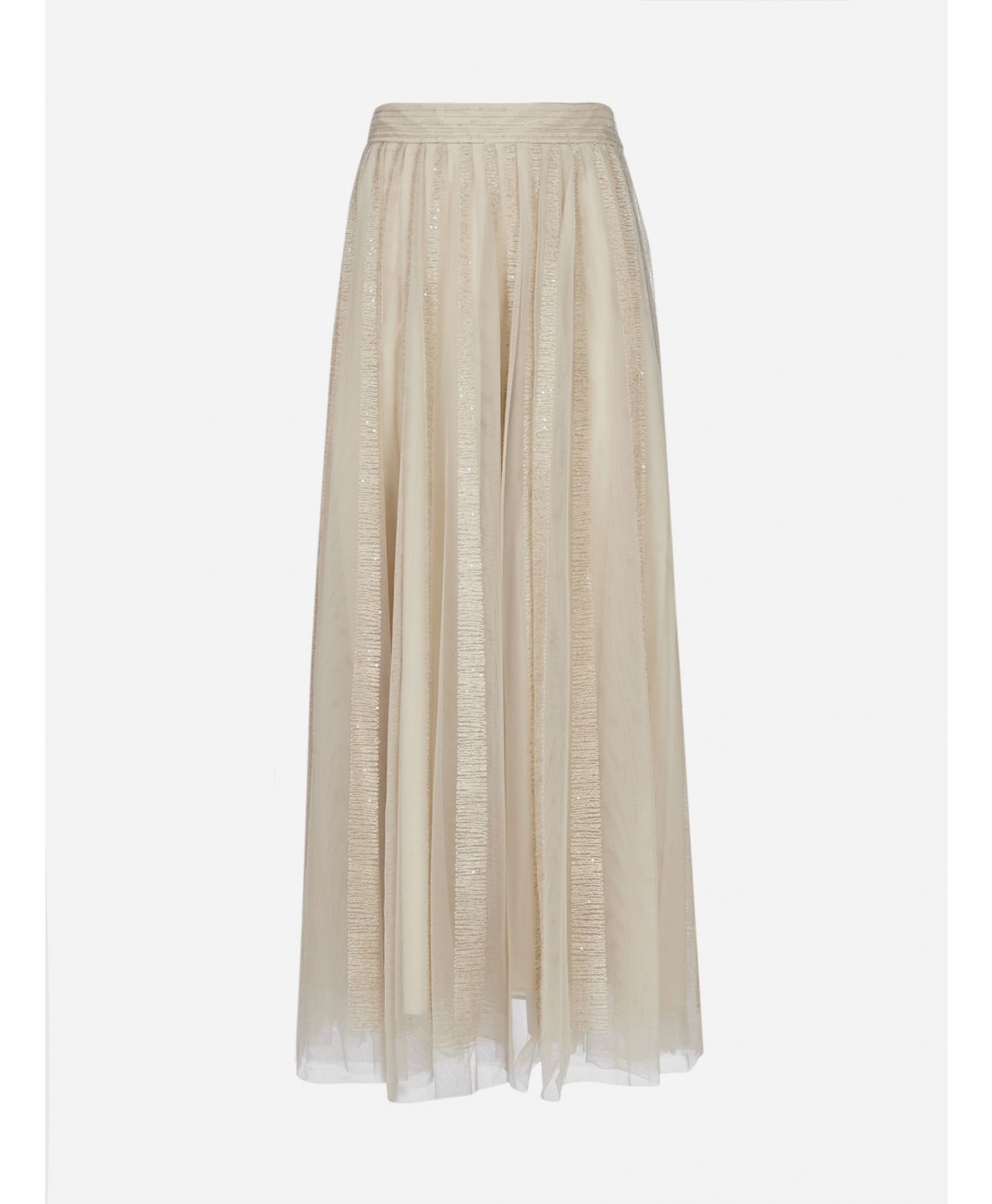 Embroidered tulle long skirt