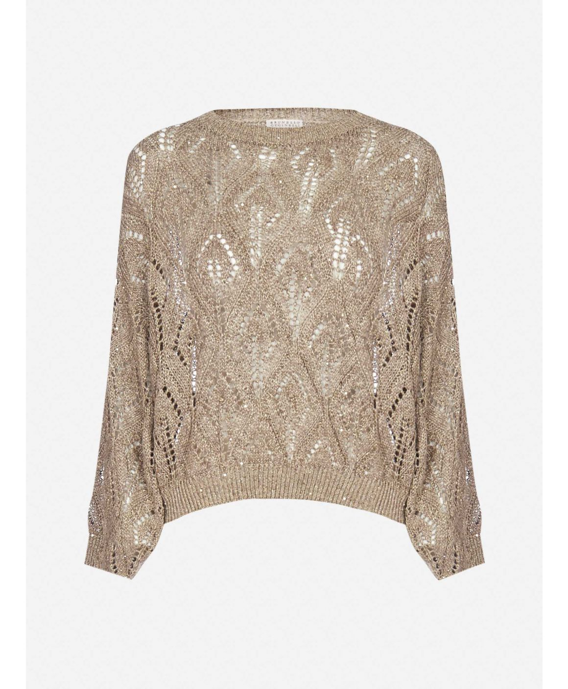 Linen-blend embroidered knitted sweater