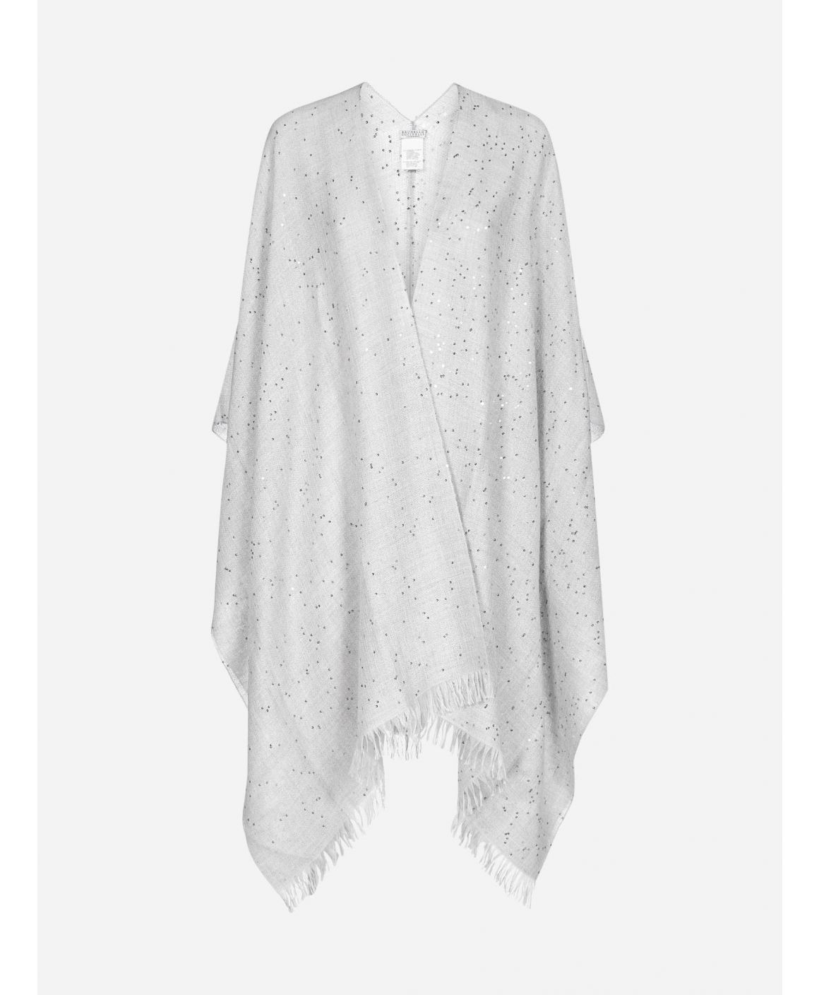 Sequins cashmere and silk poncho