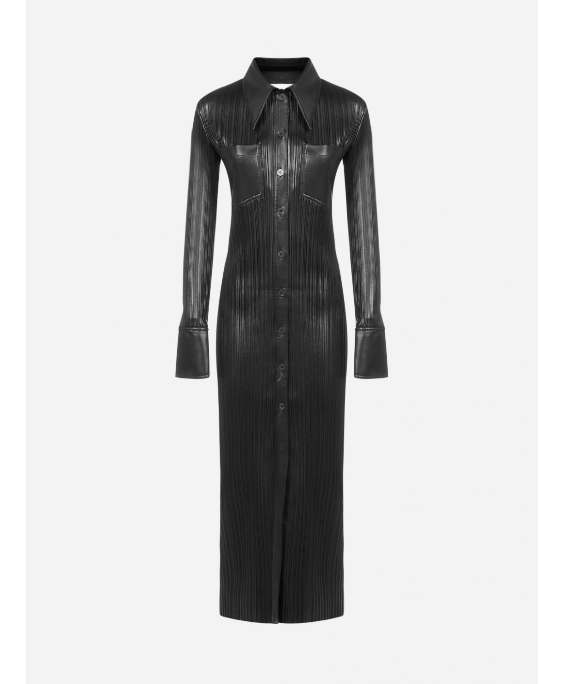 Lee pleated vegan leather long shirt dress