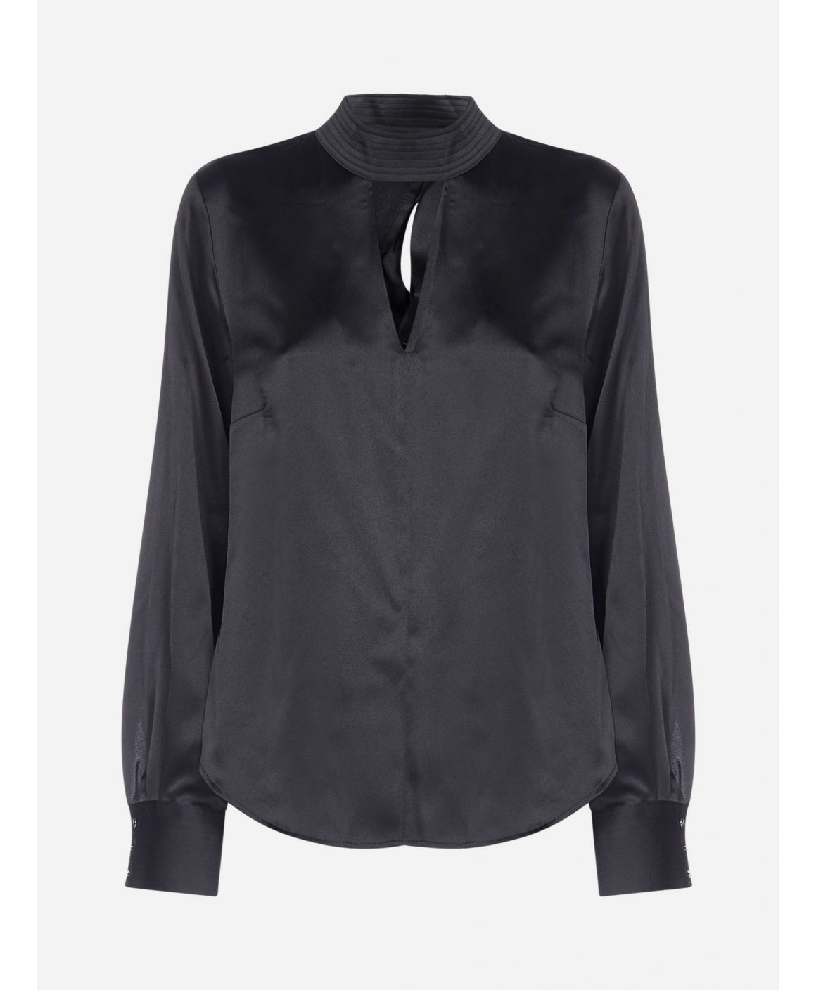 Cut-out detail stretch satin blouse