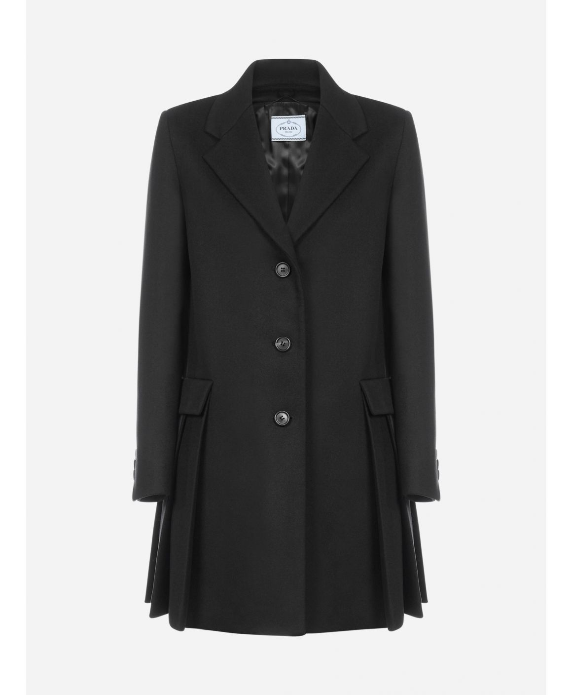 Pleated virgin wool coat