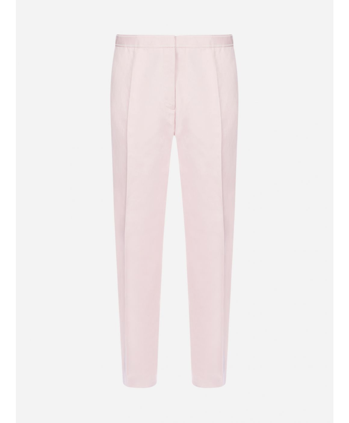 Cotton and linen drill cropped trousers