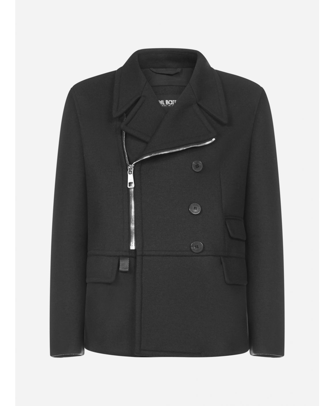 Zip-up wool-blend pea coat