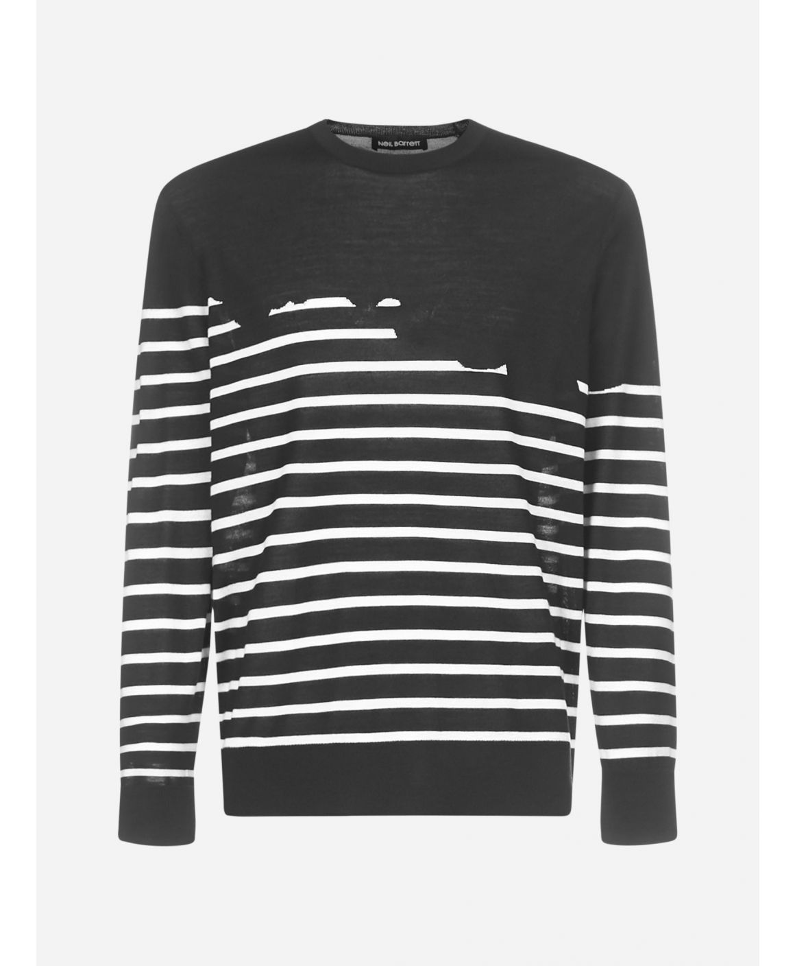 Striped wool, silk and cashmere sweater