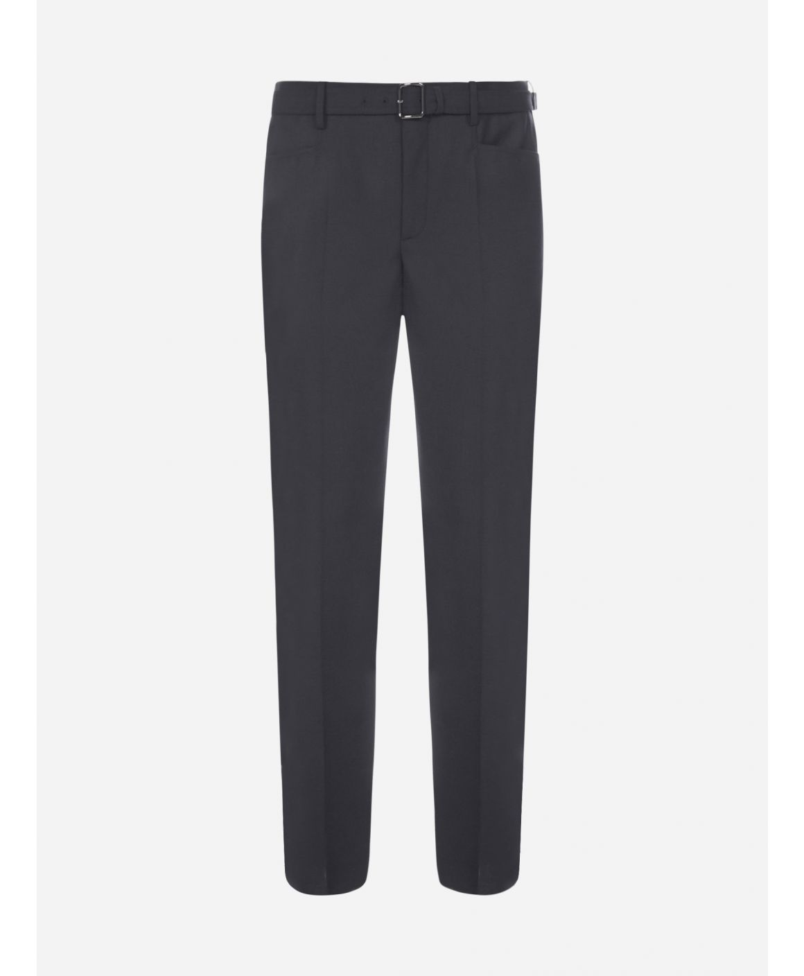 Belted stretch wool-blend trousers