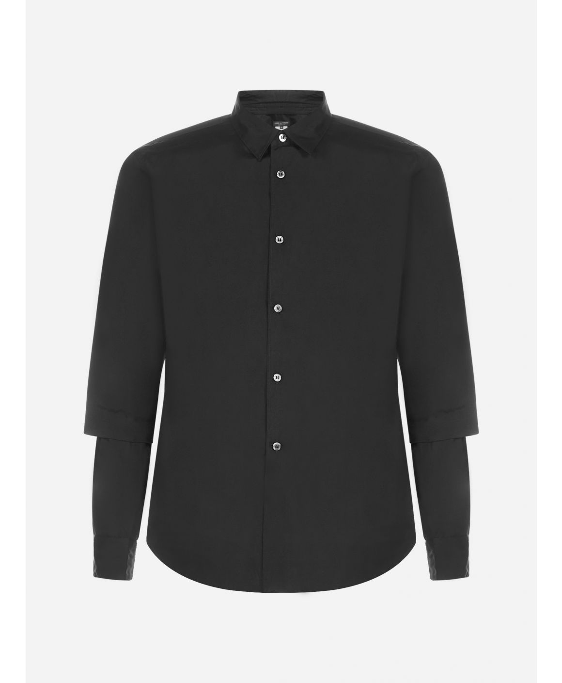 Double effect-sleeves cotton shirt