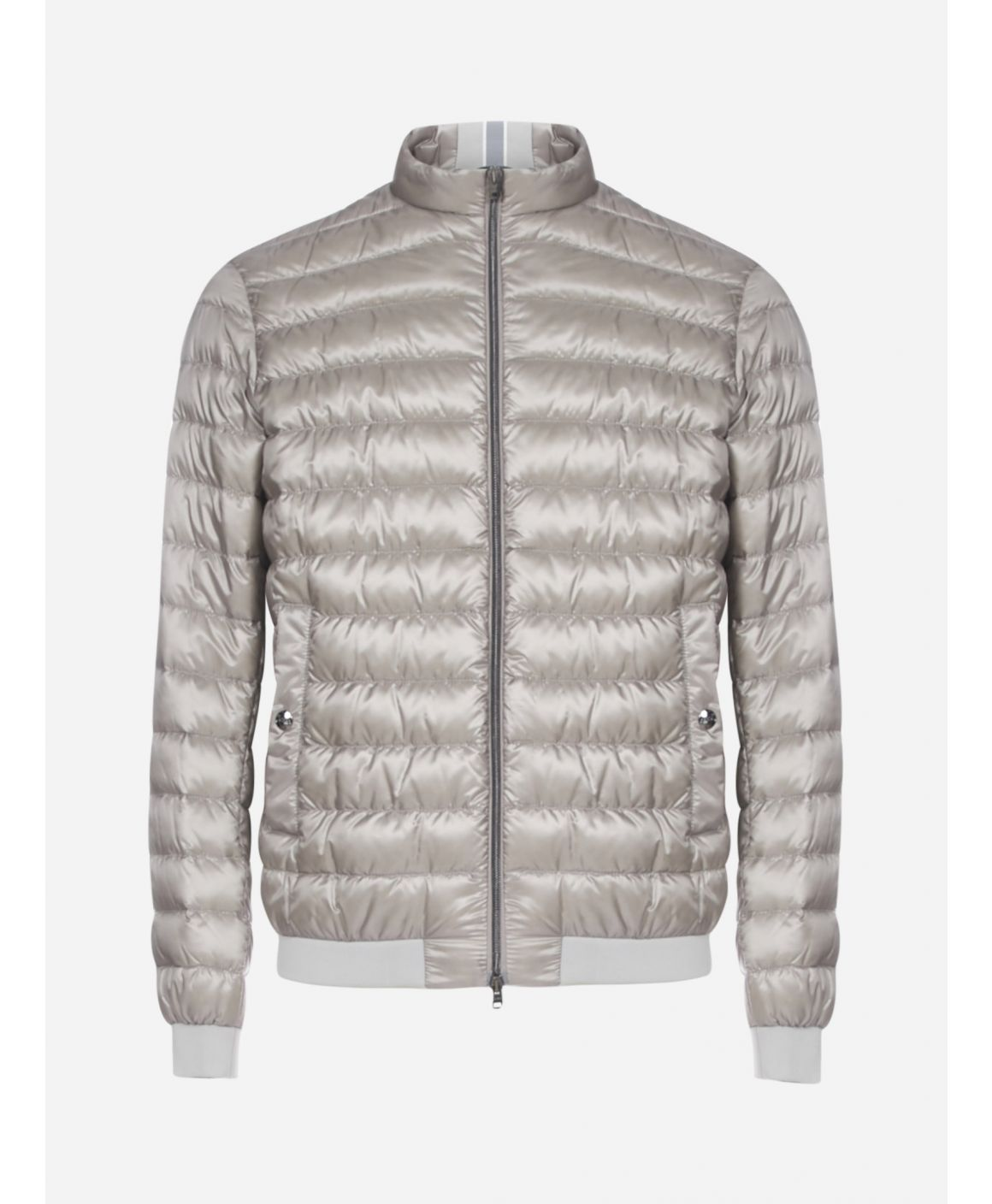Quilted nylon short down jacket