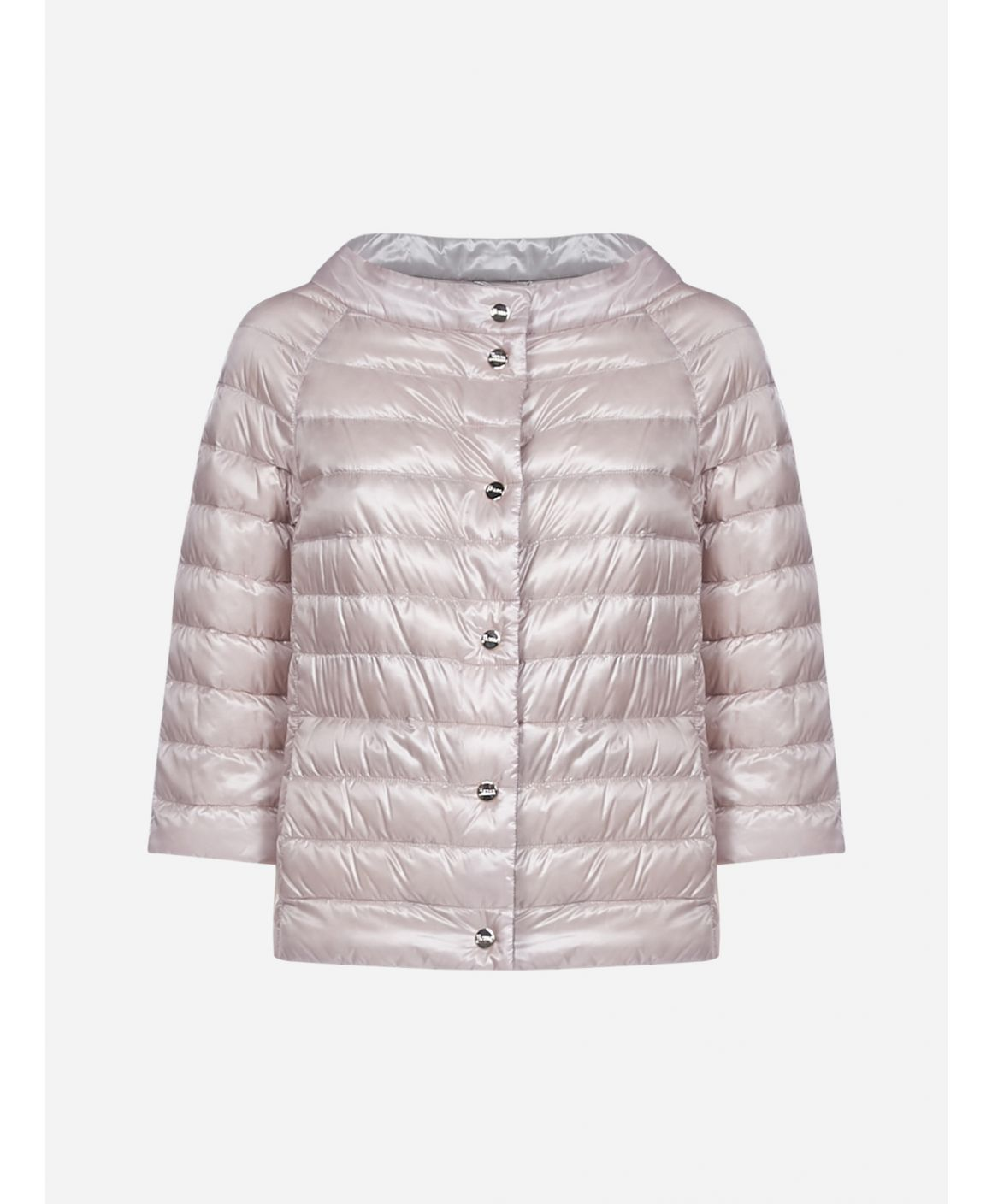 Reversible quilted nylon short down jacket