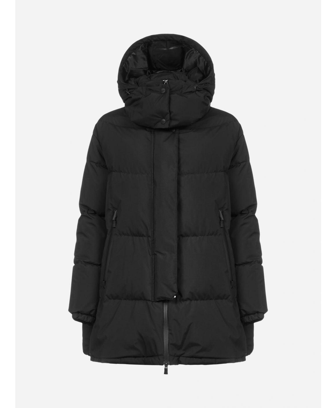 Hooded quilted nylon down jacket