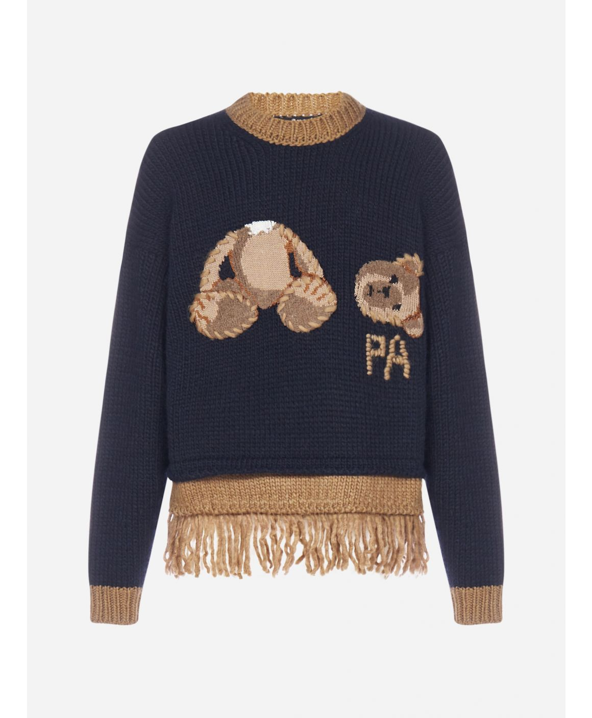 Bear fringed wool-blend sweater