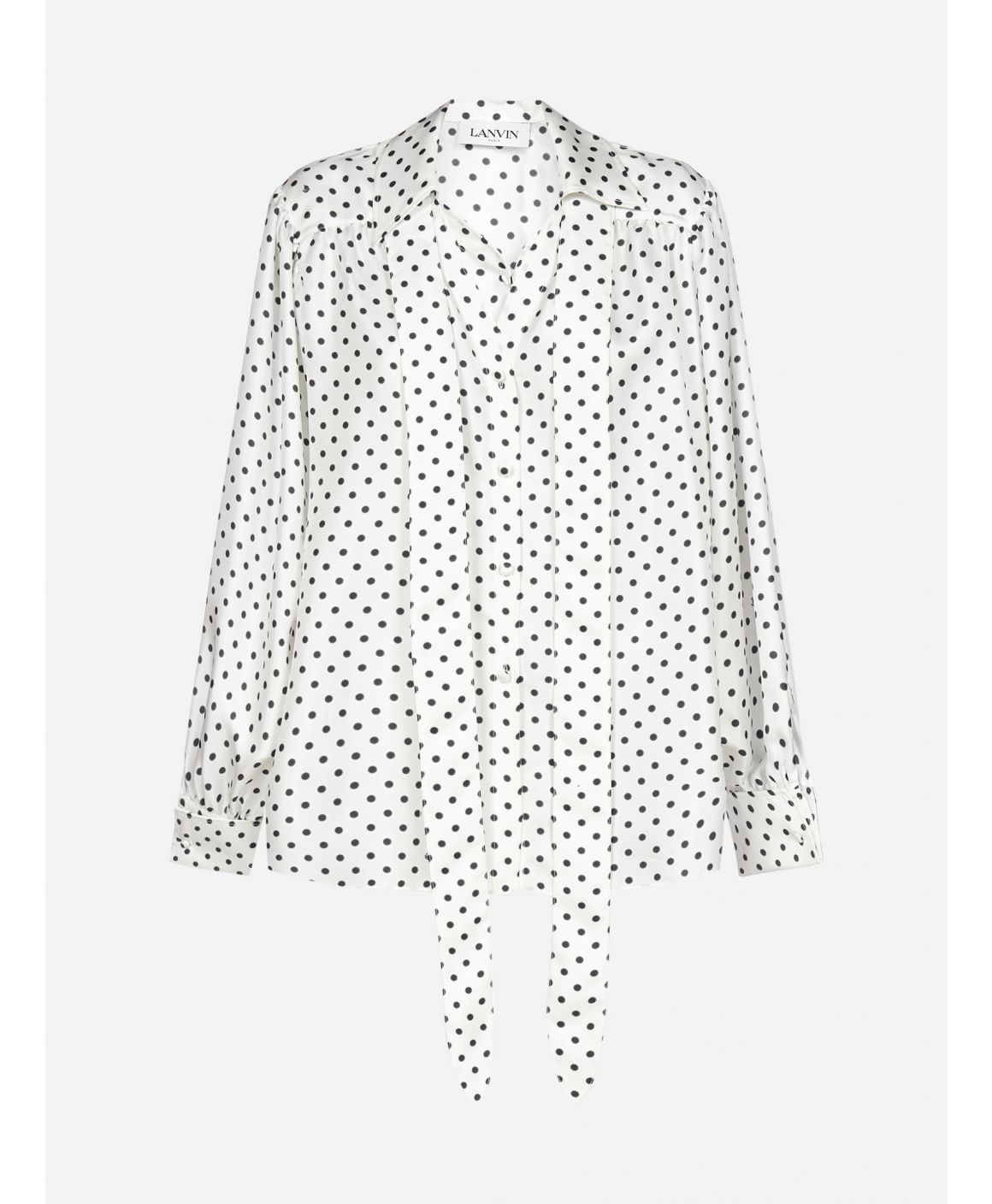 Polka dot print silk blouse