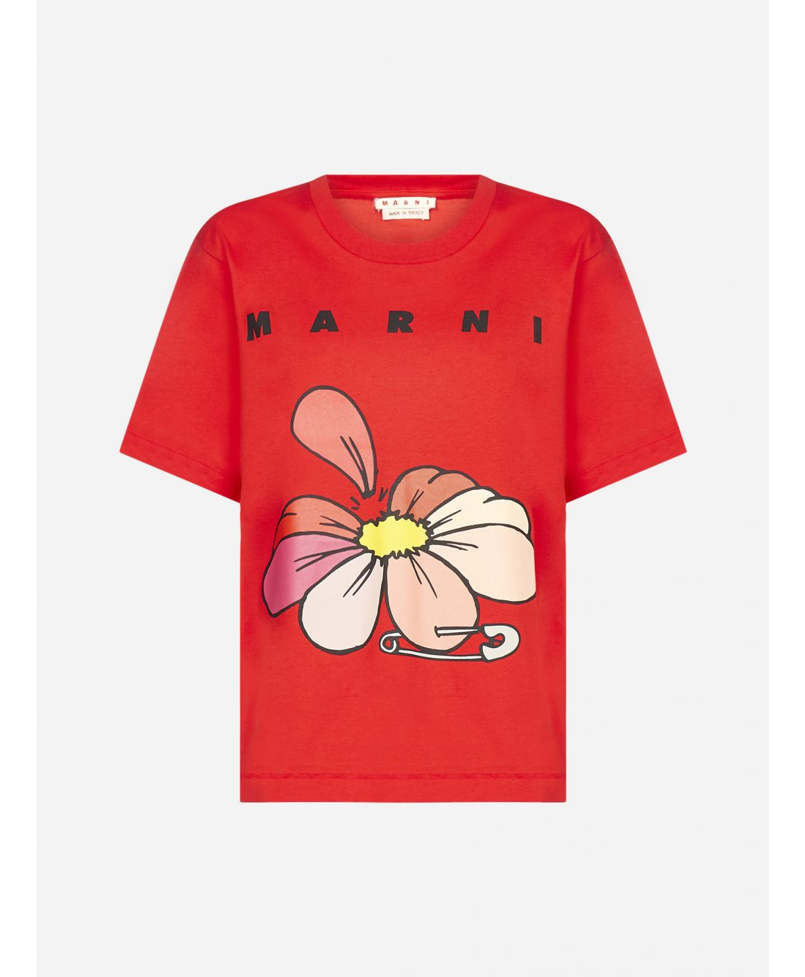 Flower and logo print cotton t-shirt