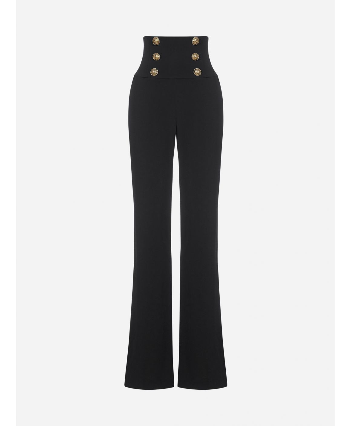 Buttoned high-waist viscose trousers