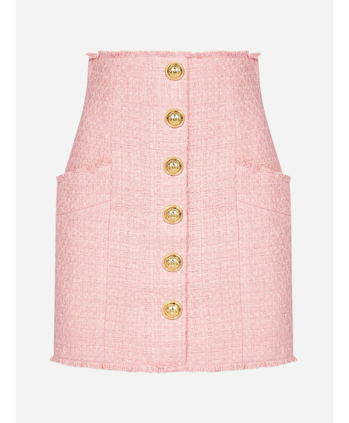 Buttoned cotton tweed miniskirt