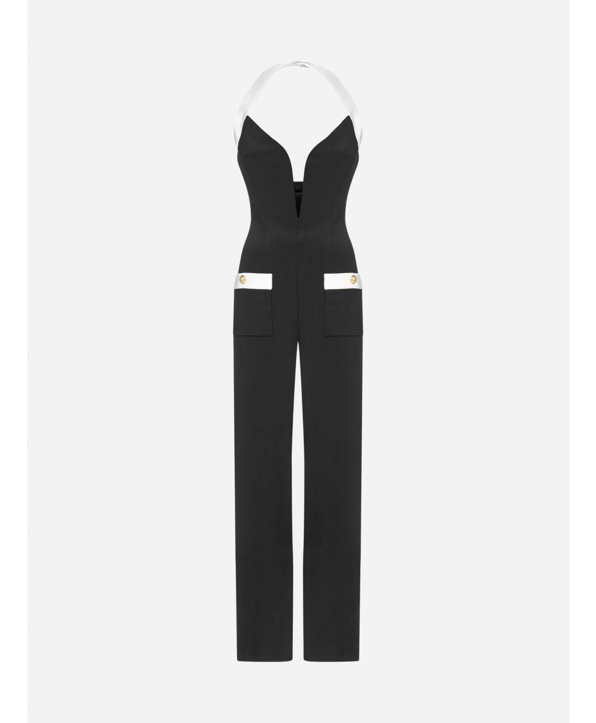 Pocket-detail stretch viscose jumpsuit