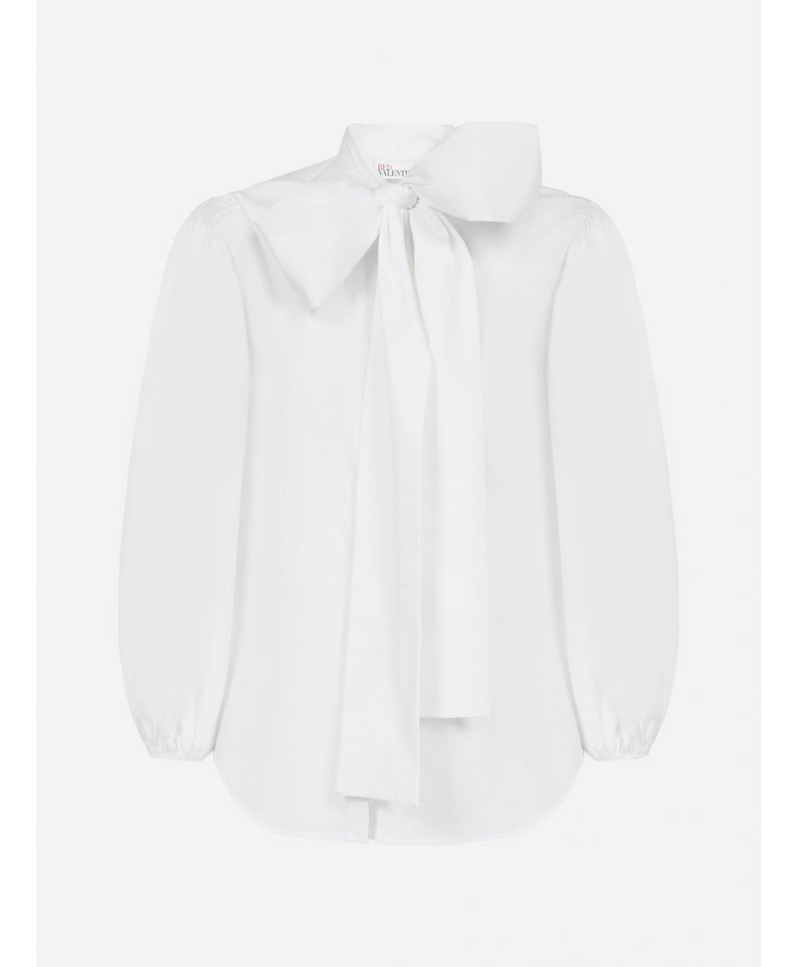 Pussy-bow neck stretch cotton shirt