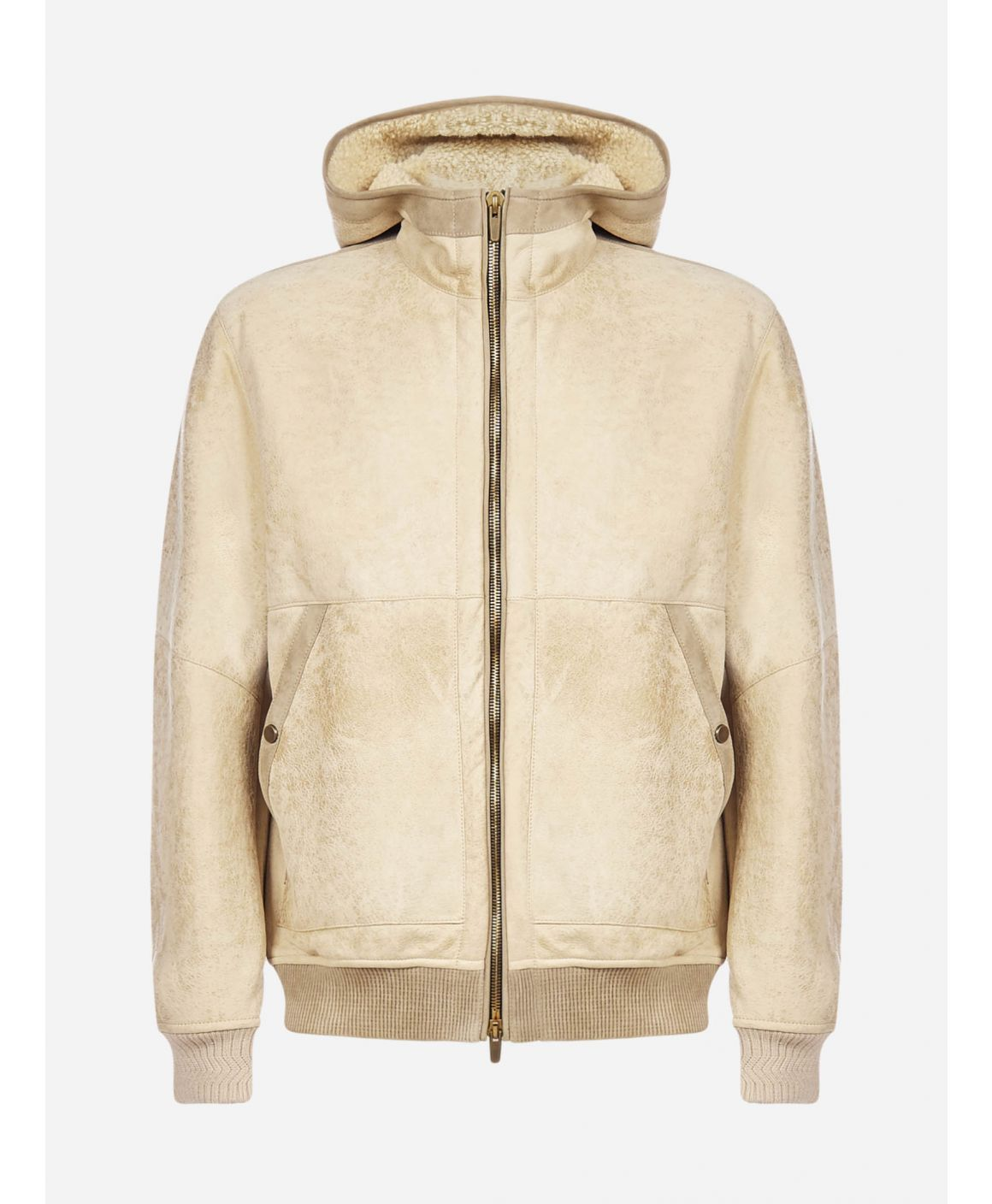 Nappa and shearling hooded jacket